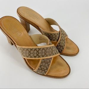 Coach Dede signature brown sandal mules
